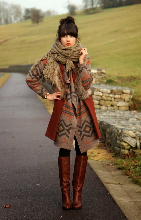 Long-Cozy-Cardigan-With-Brown-Scarf-and-Long-Boots