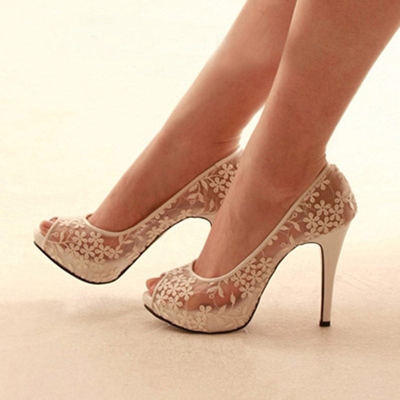 Champagne Lace Shoes