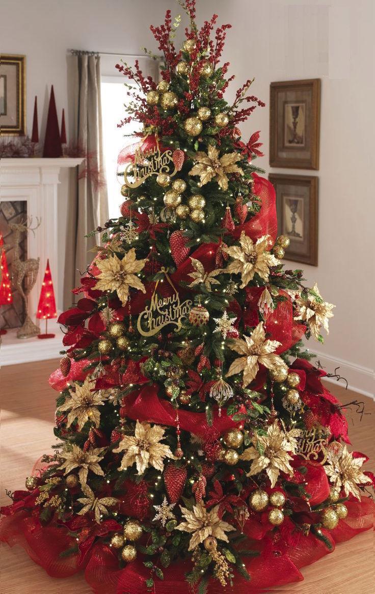 Decoracion de arboles de navidad rojo y dorado