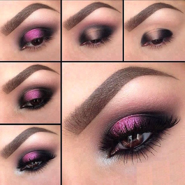 maquillaje de ojos morados