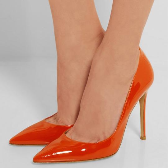 Naranja-zapatos-de-mujer-tacones-señaló-dedo-del-pie-talón-fino-hecho-a-mano-mano-estilo