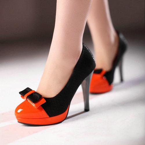 Preto-branco-e-laranja-misturado-cores-sapatos-de-salto-alto-para-mulheres-mulheres-bowtie-sexy-bombas