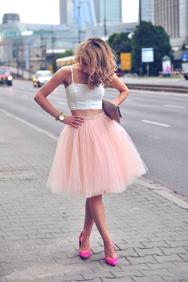 color rosado falda de tul;