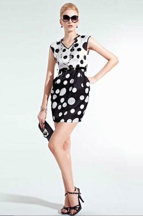 vestido blanco-negro