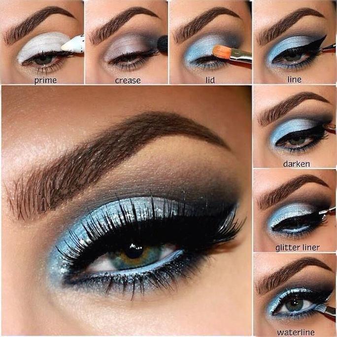 maquillaje de sombra azul