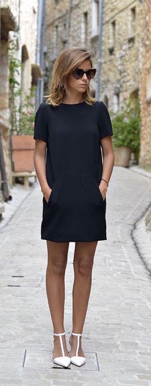 vestido negro casual-w
