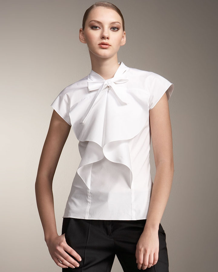 carolina-herrera-white-pleated-tie-neck-blouse-