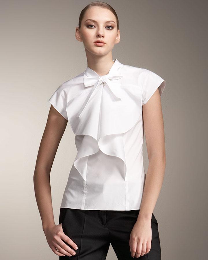 carolina-herrera-white-pleated-tie-neck-blouse-