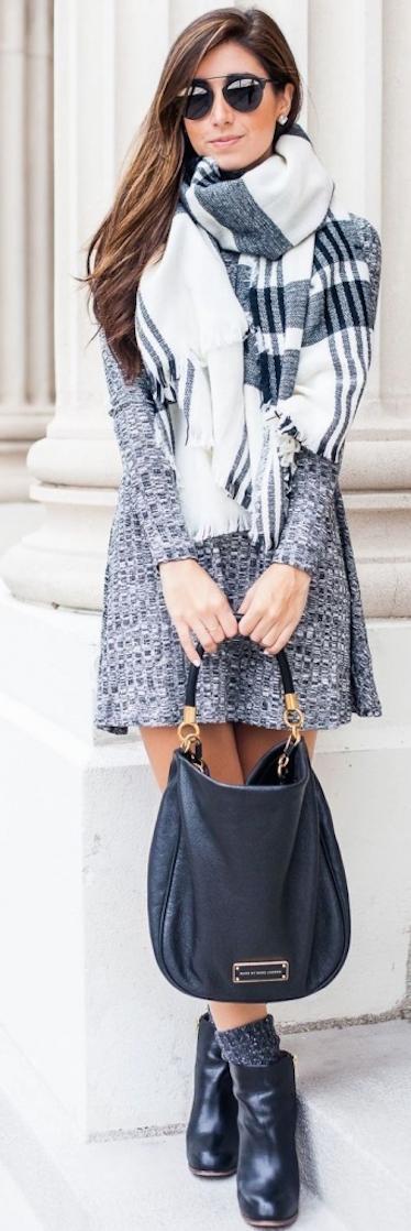 winter-fashion-gray-knit-dress-tartan-scarf-343x1024